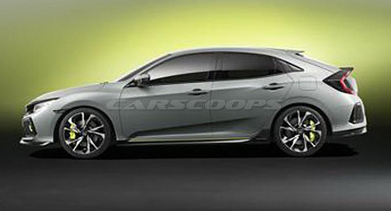 Honda Civic Hatchback Prototype concept side profile leaked image