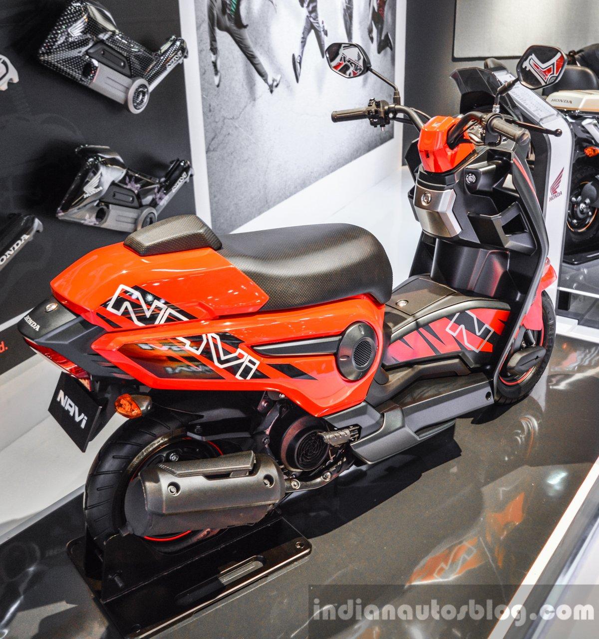 Honda navi design concept scooter rear quarter at auto expo 2016 publicscrutiny Choice Image