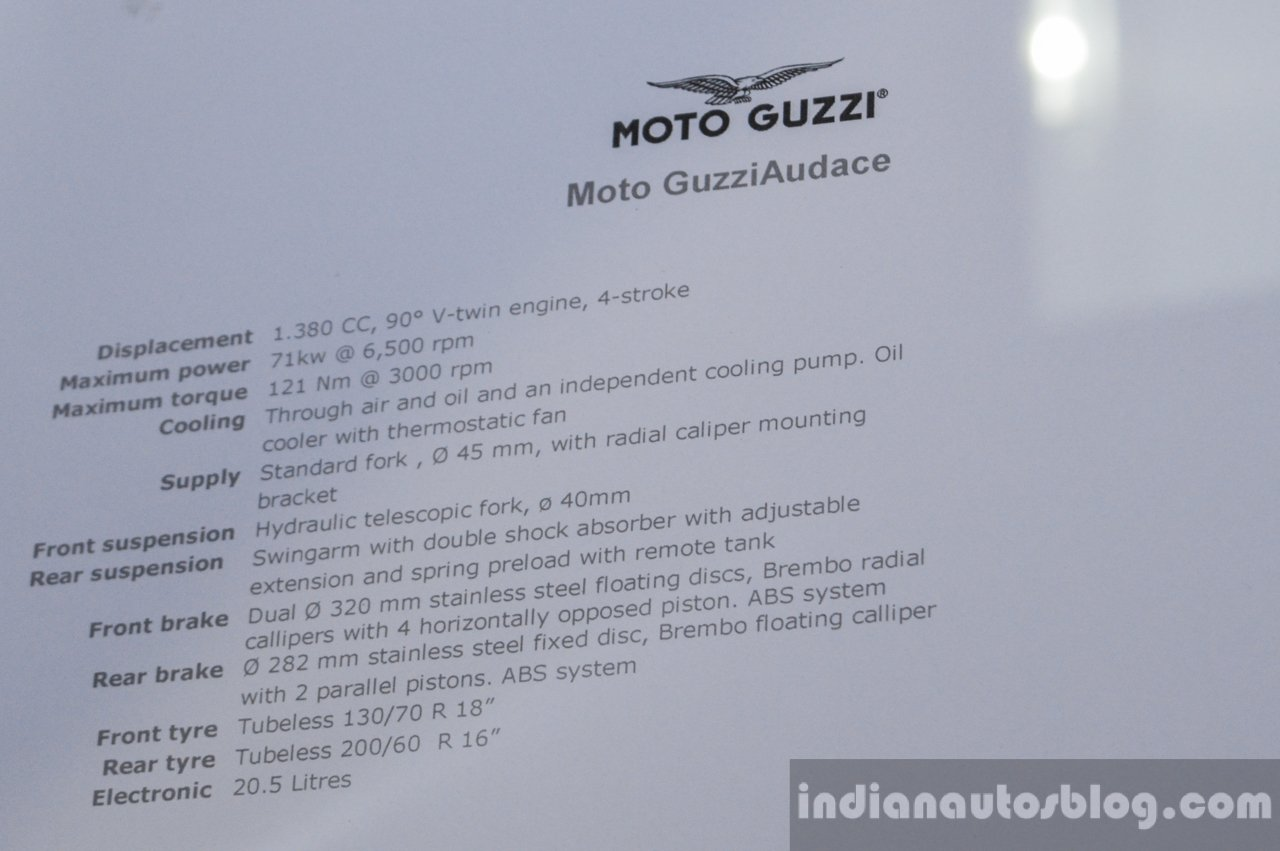 Moto Guzzi Audace specifications at Auto Expo 2016