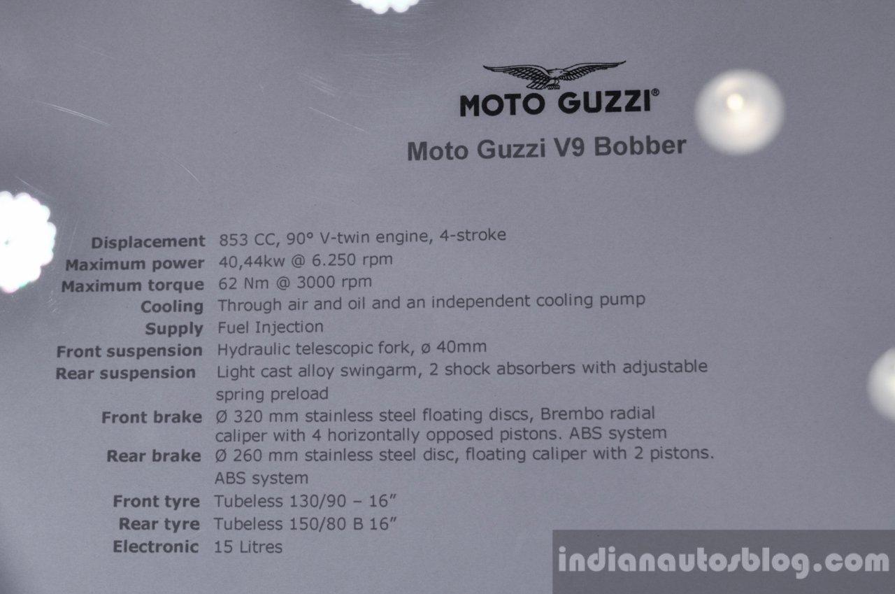 Moto Guzzi V9 Bobber specifications at Auto Expo 2016