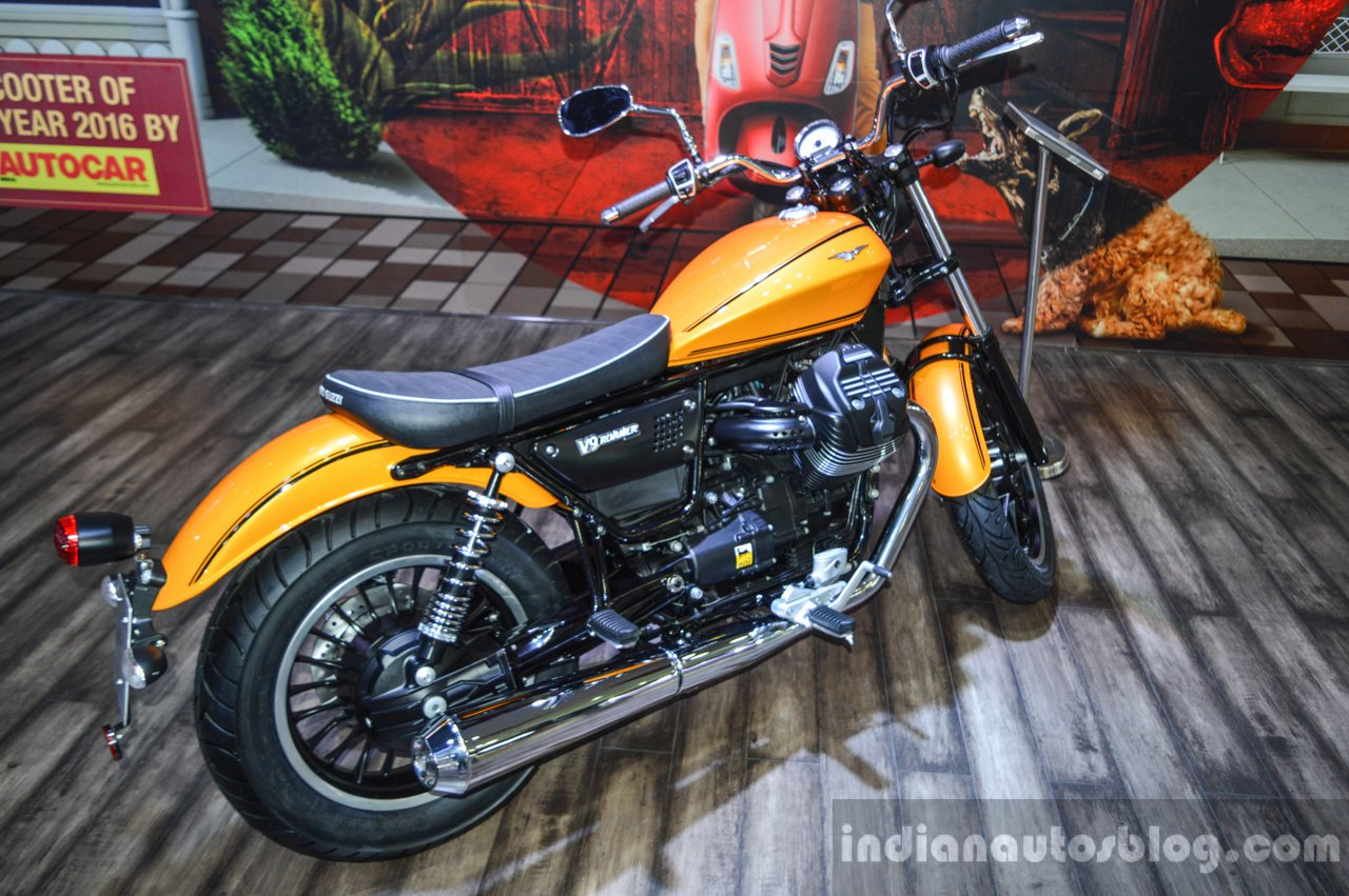 Moto Guzzi V9 Roamer rear quarter at Auto Expo 2016