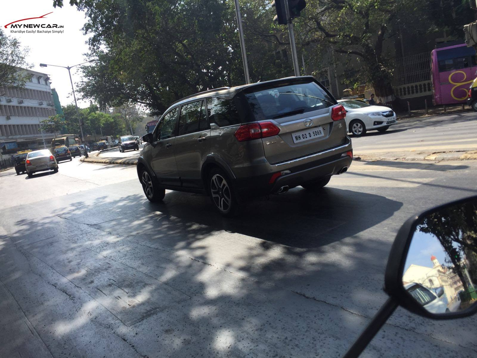 Tata Hexa rear three quarter spotted sans camouflage