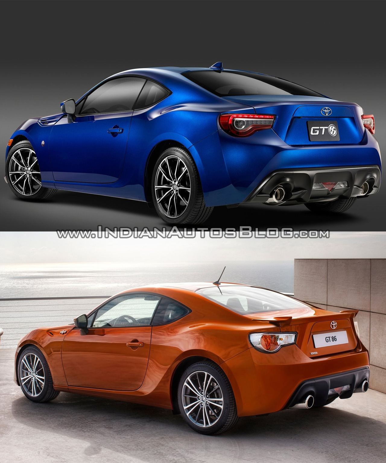 2016 Toyota GT86 (facelift) - old vs. new rear three quarters