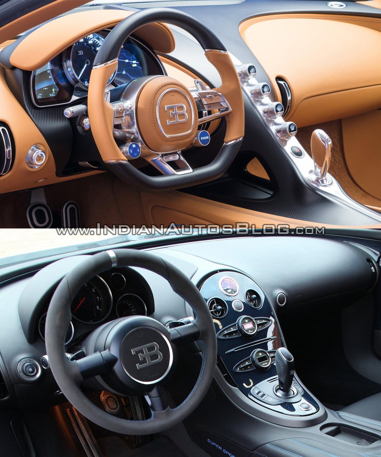 Bugatti Chiron vs. Bugatti Veyron interior dashboard - Indian Autos blog