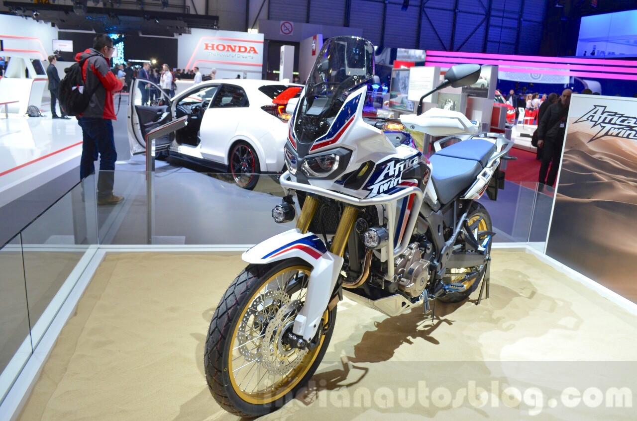 Honda CRF1000L Africa Twin front three quarters at the 2016 Geneva Motor Show