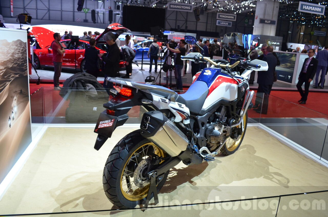 Honda CRF1000L Africa Twin rear three quarters at the 2016 Geneva Motor Show