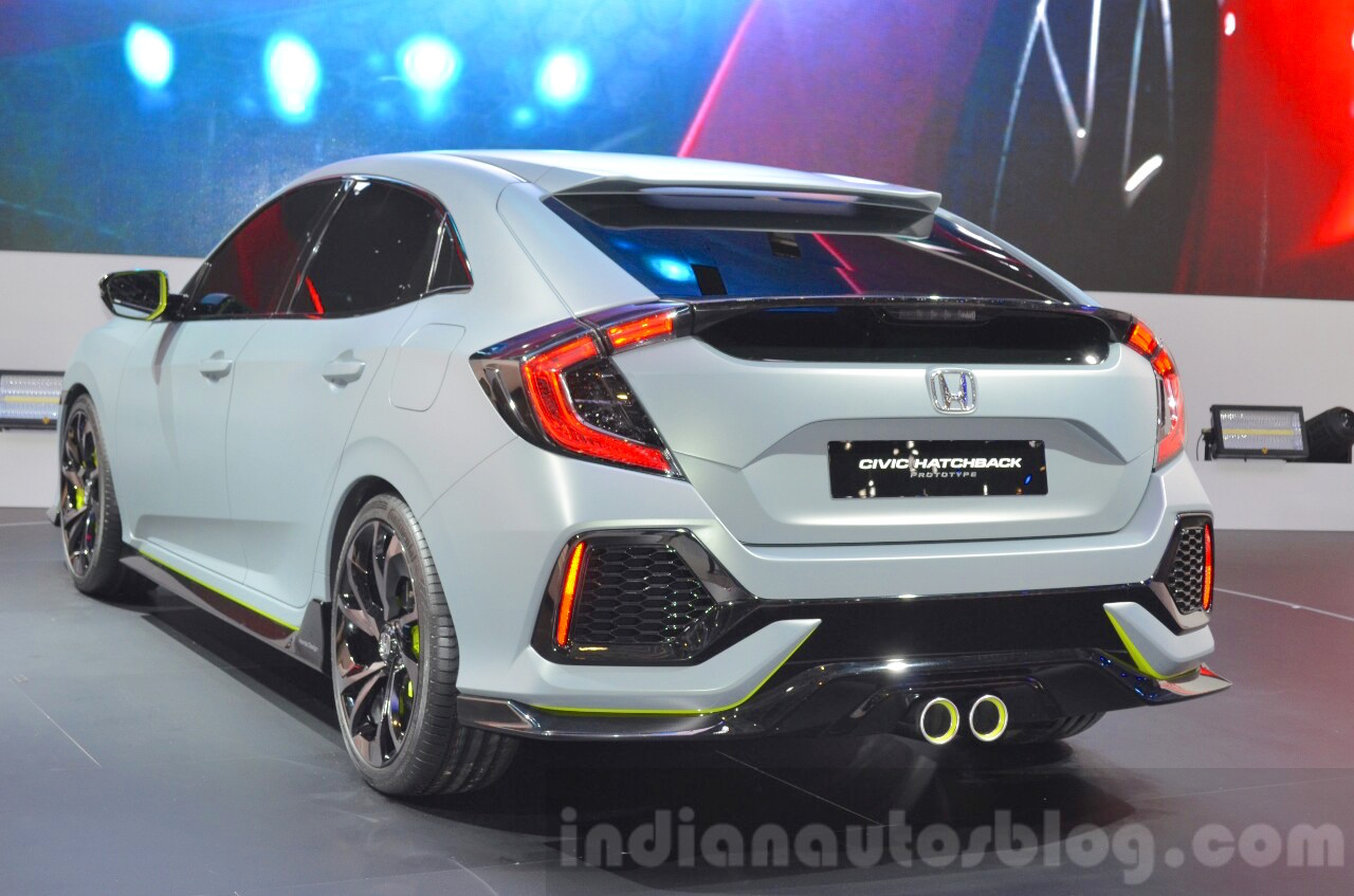 honda civic hatchback prototype rear three quarters at the 2016 geneva motor show. Black Bedroom Furniture Sets. Home Design Ideas