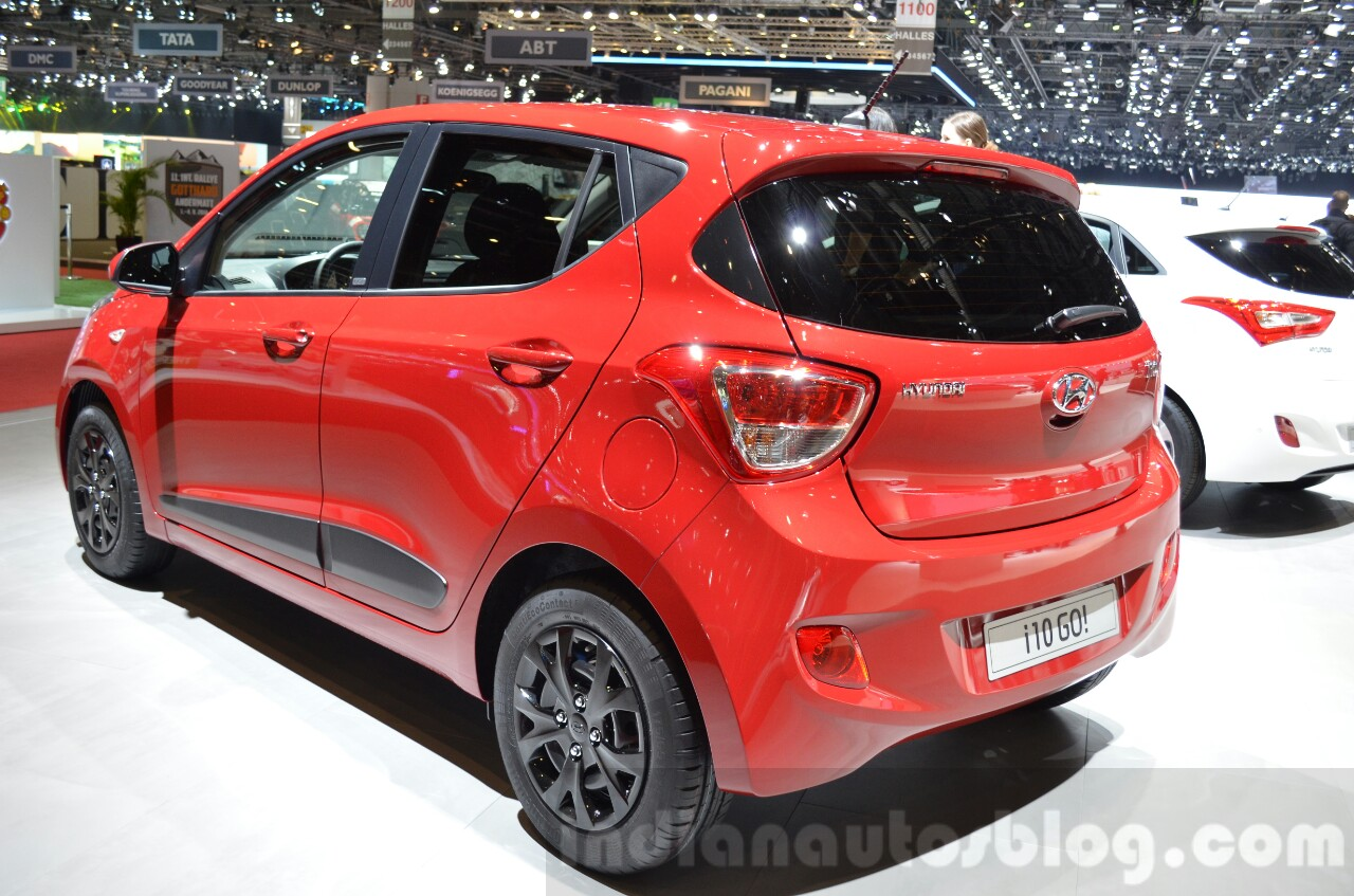 hyundai i10 go rear three quarter at the 2016 geneva. Black Bedroom Furniture Sets. Home Design Ideas