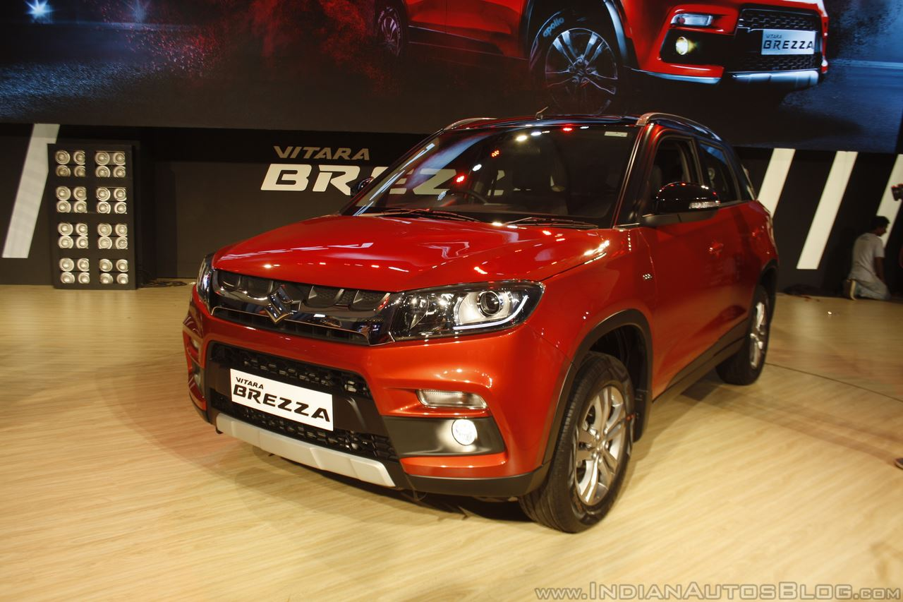 Maruti Vitara Brezza front three quarter red launched