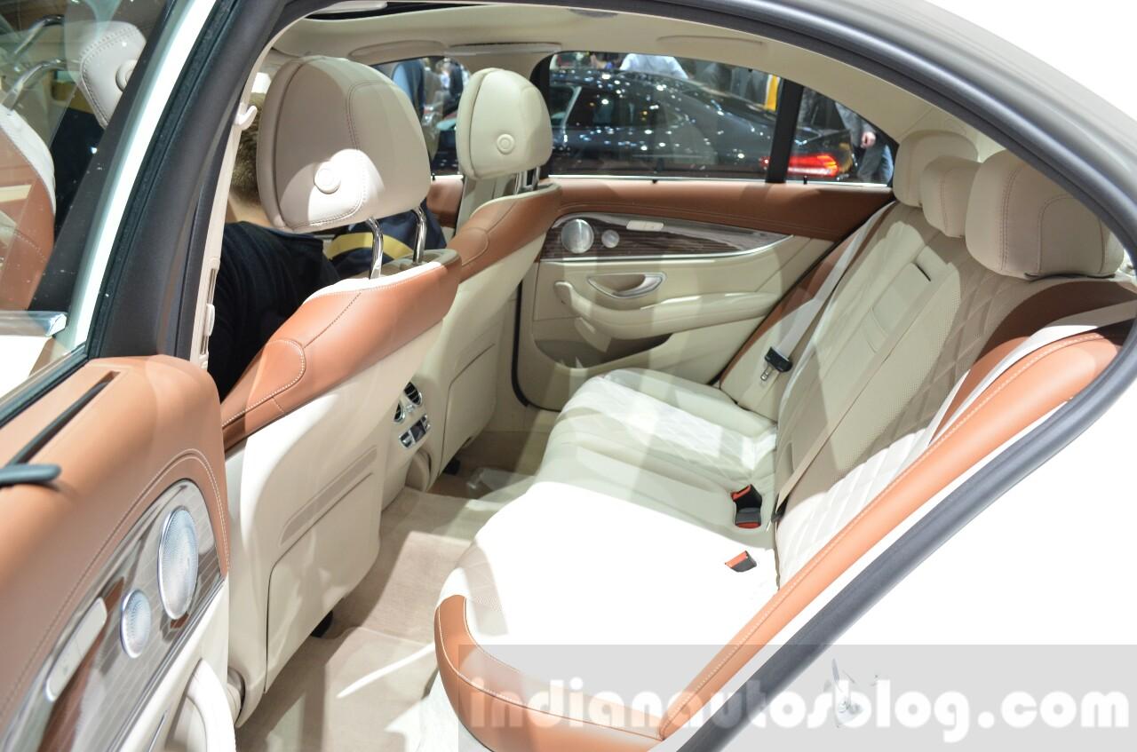 Mercedes E-Class E 350e rear seat at the 2016 Geneva Motor Show