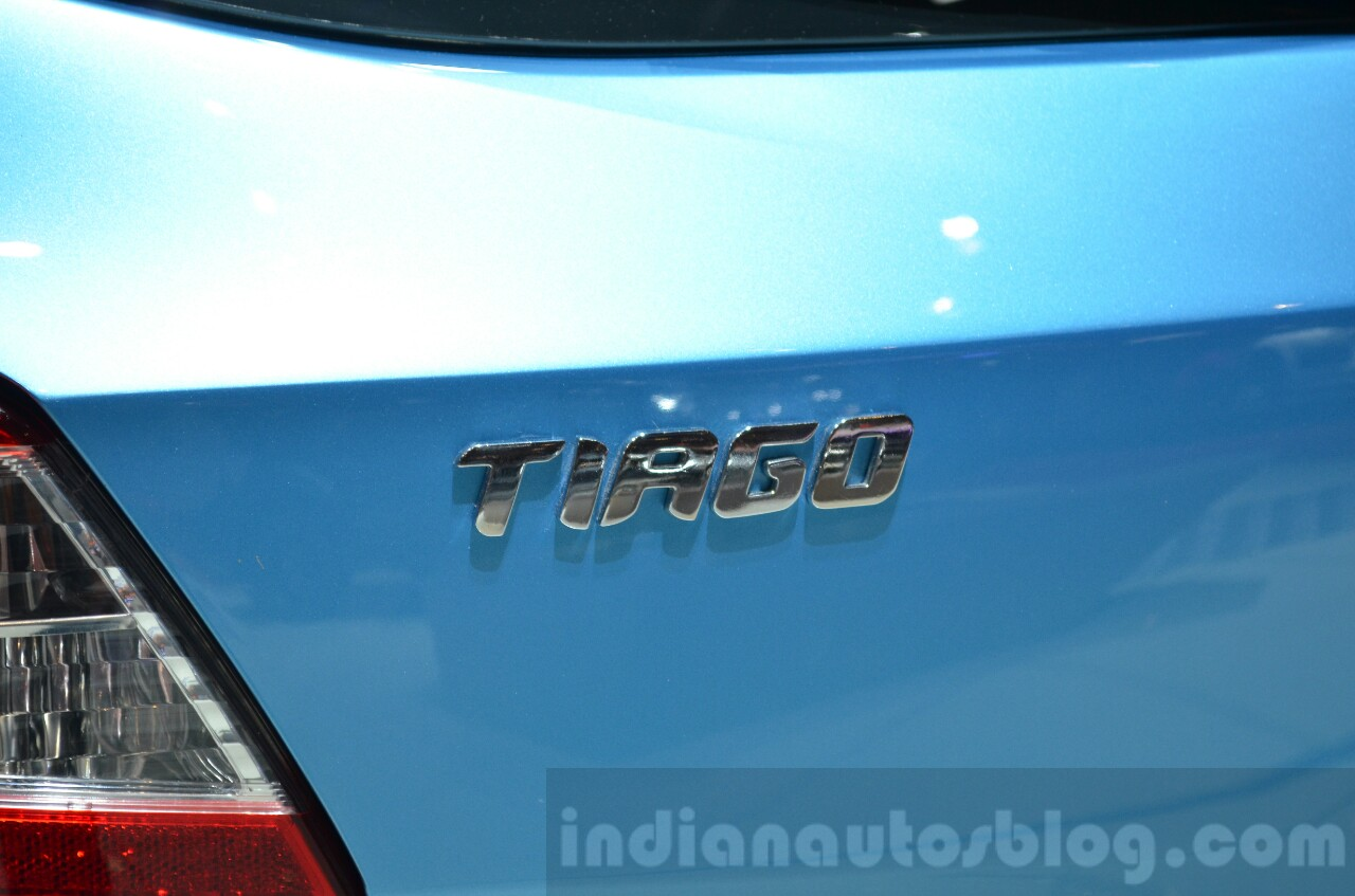 Tata Tiago badge at Geneva Motor Show 2016