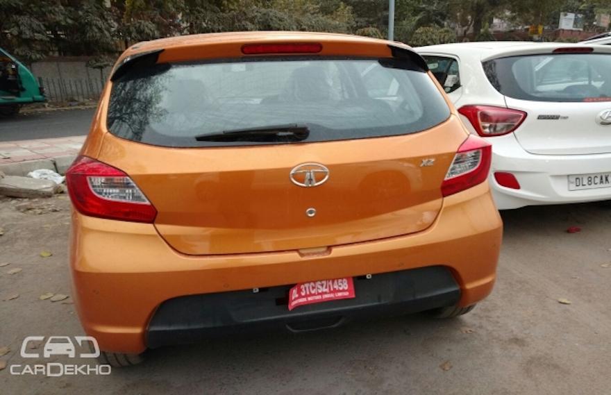 Tata Tiago rear spotted at a dealership