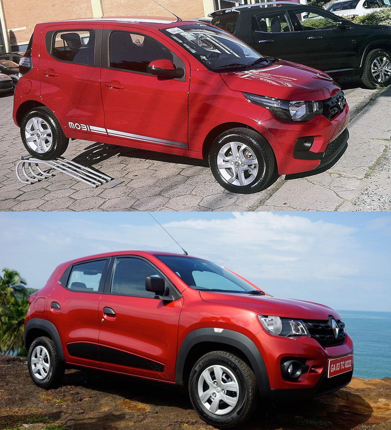 Fiat Mobi vs. Renault Kwid front three quarters