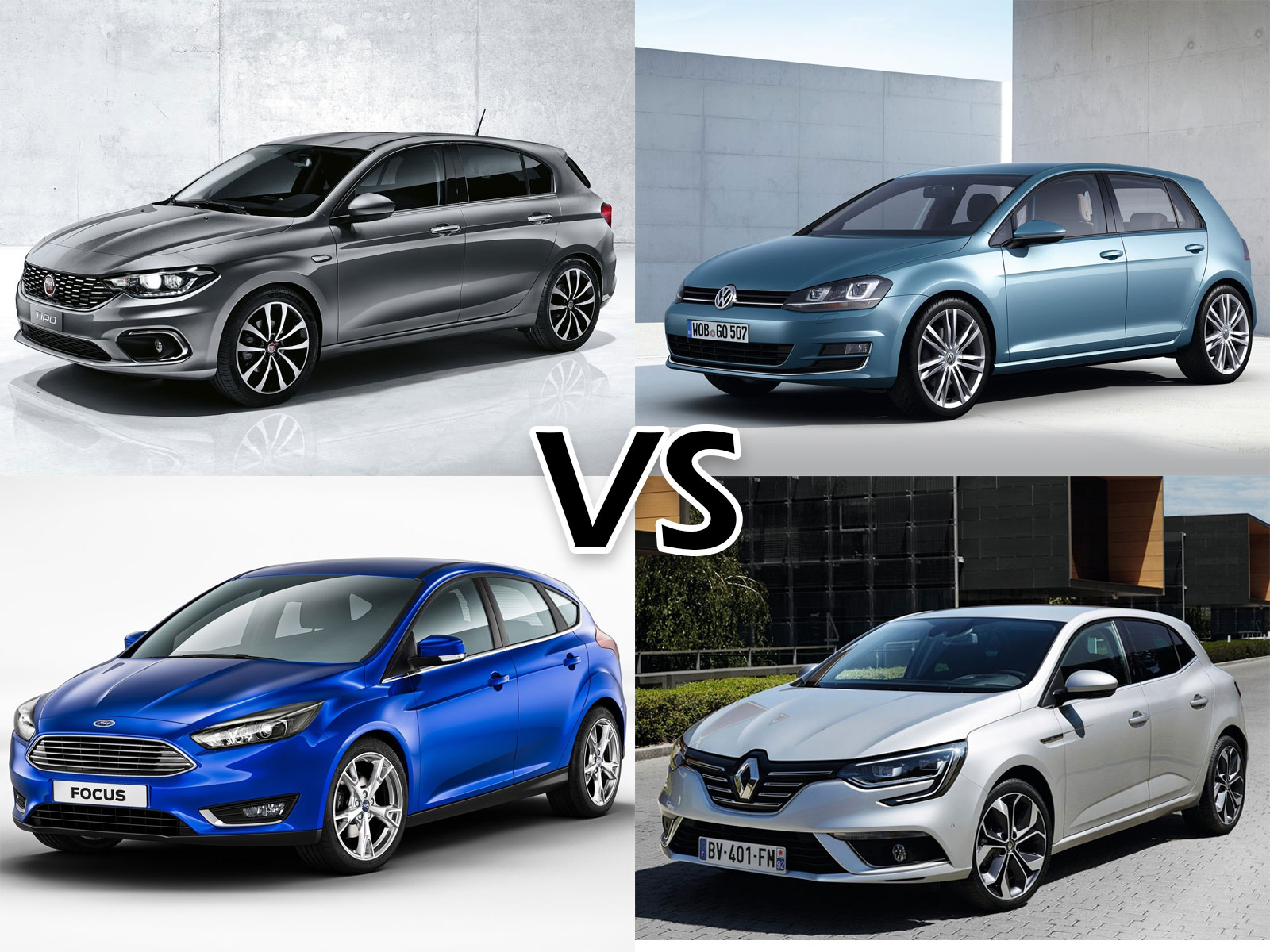 Fiat Tipo vs. VW Golf vs. Ford Focus vs. Renault Megane exterior front three quarters