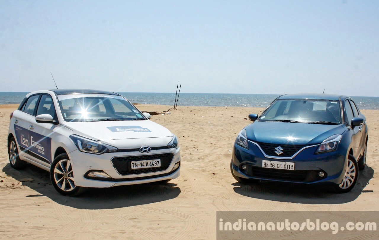 Maruti Baleno Vs Hyundai Elite I20 Front Three Quarter Comparison Review