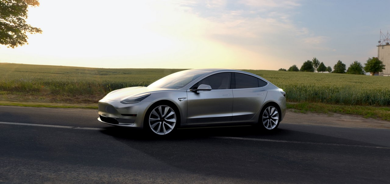 Tesla Model 3 official image front three quarters