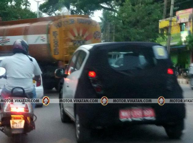 Chevrolet Beat Activ rear spied testing in India