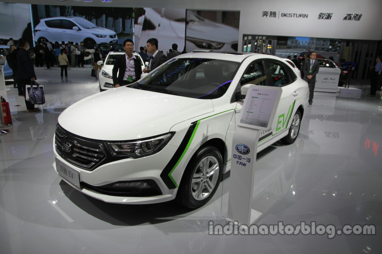 FAW Besturn B30 EV front three quarters at Auto China 2016