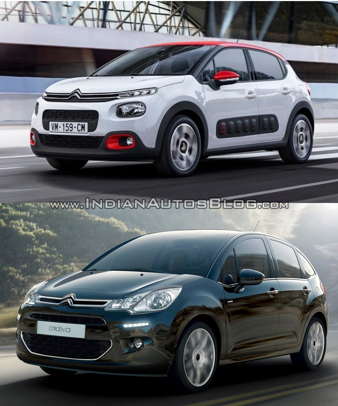 2016 Citroen C3 vs. 2014 Citroen C3 front three quarters