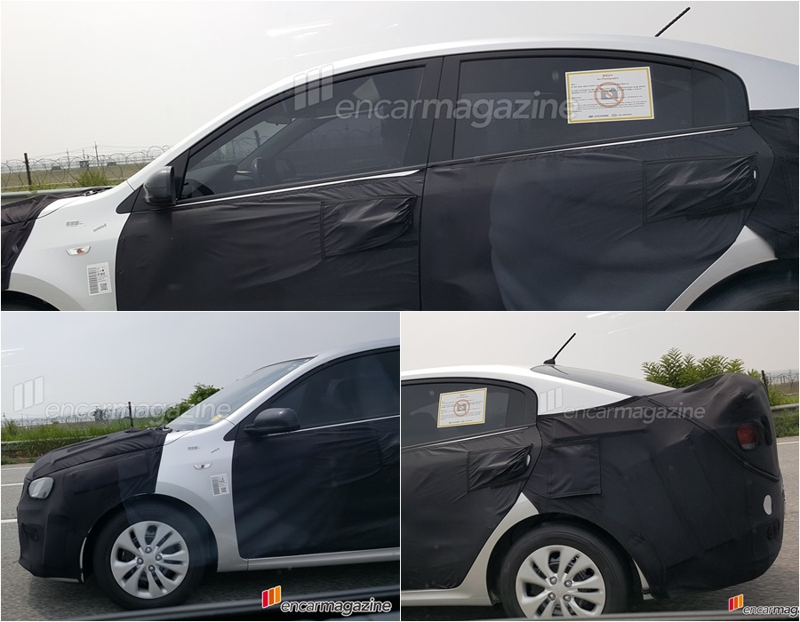 2017 Kia Rio sedan profile spy shot