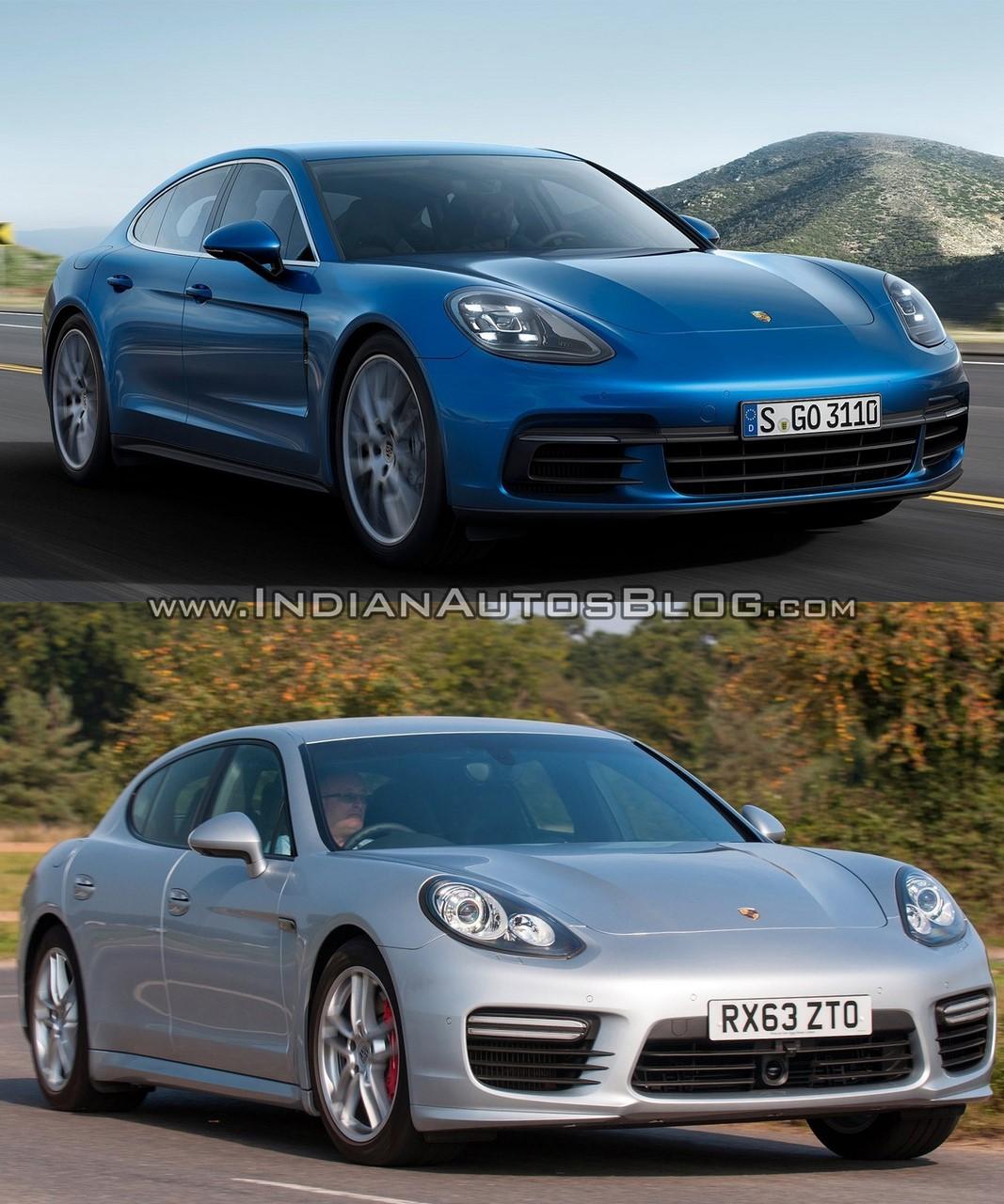 2017 Porsche Panamera vs. 2014 Porsche Panamera front three quarters right side