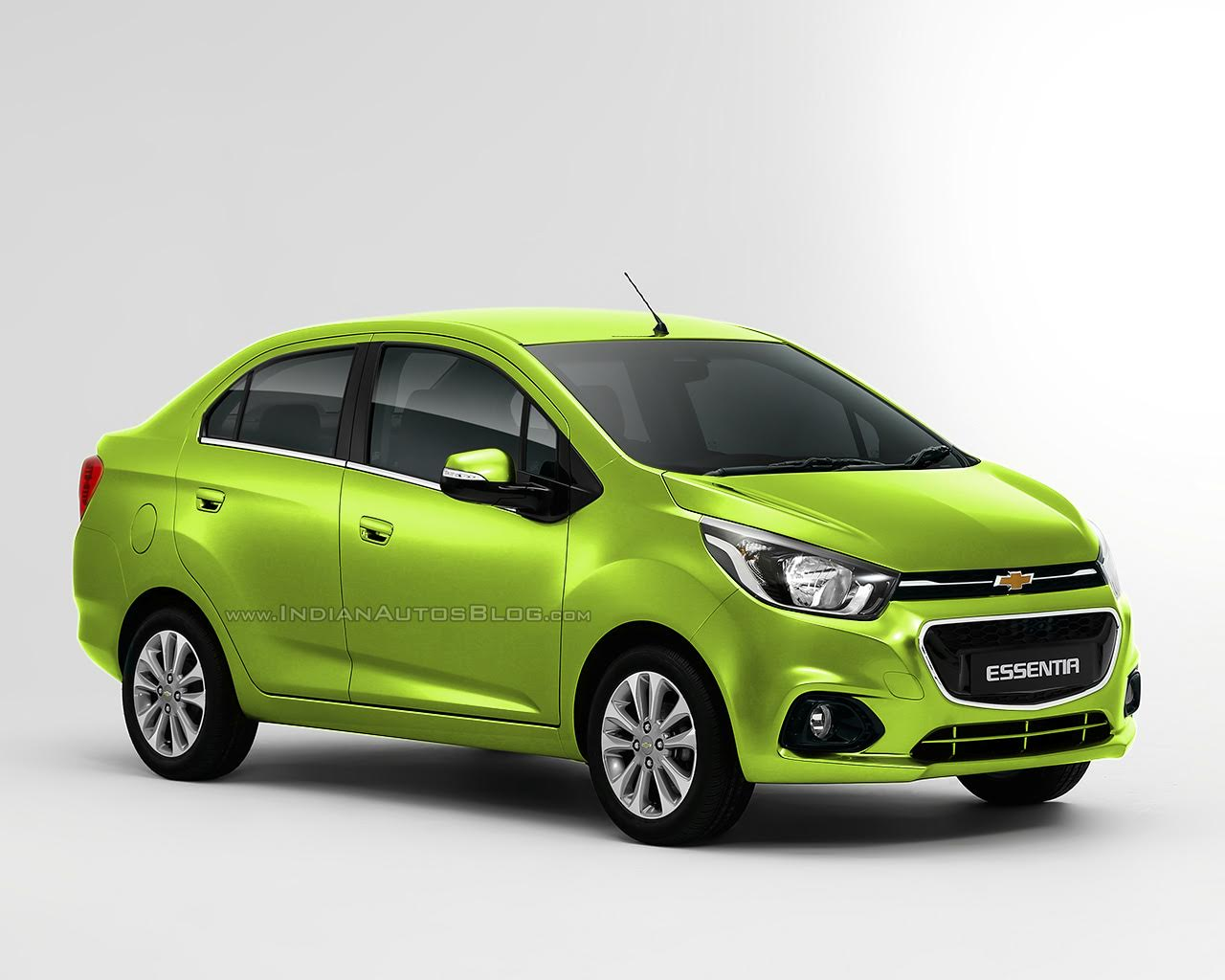 Chevrolet Beat Essentia compact sedan rendered in green