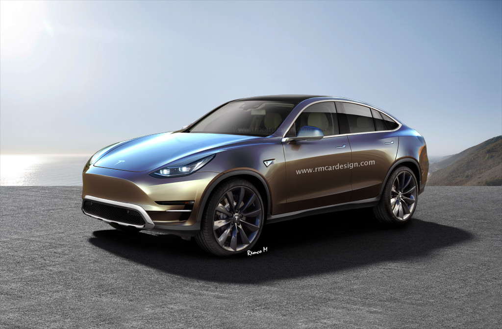 Tesla Model Y front three quarters rendering