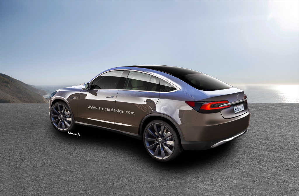 Tesla Model Y rear three quarters rendering