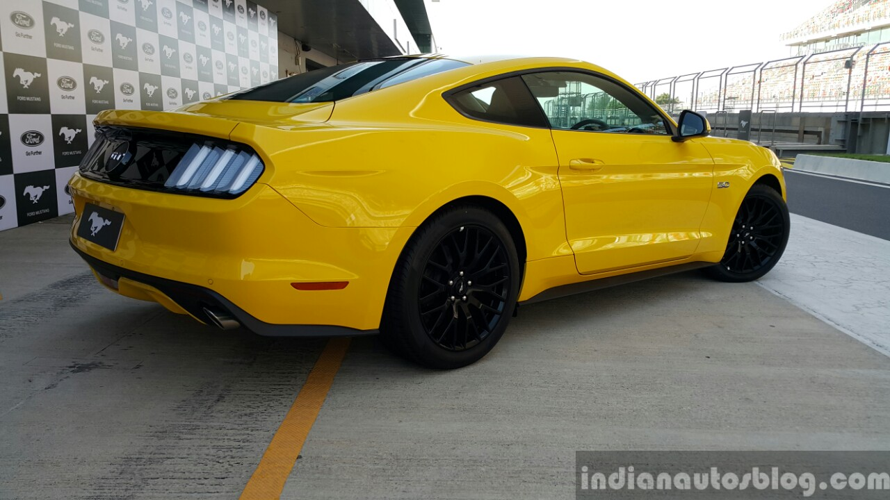2016 Ford Mustang GT in India rear three quarter First Drive Review