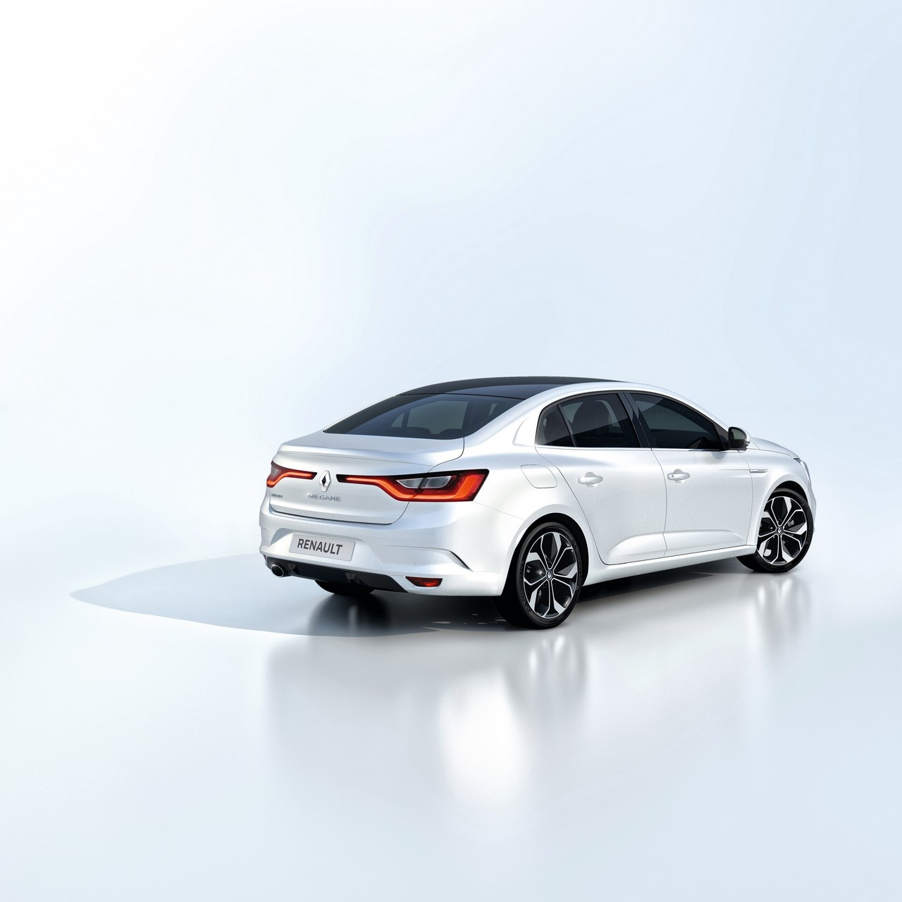 2016 Renault Megane Sedan rear three quarters right side studio image