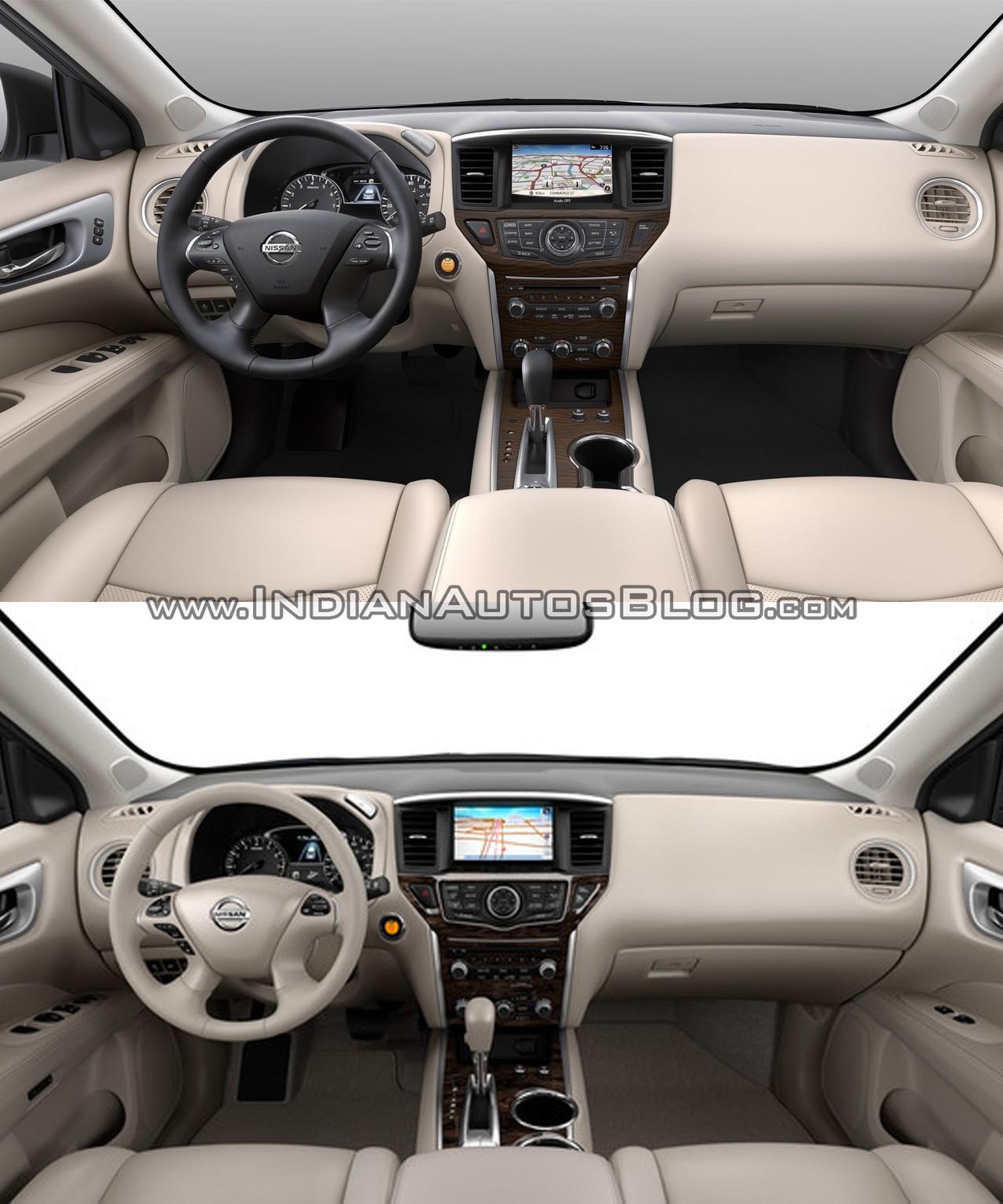 2017 Nissan Pathfinder (facelift) vs. 2013 Nissan Pathfinder interior dashboard