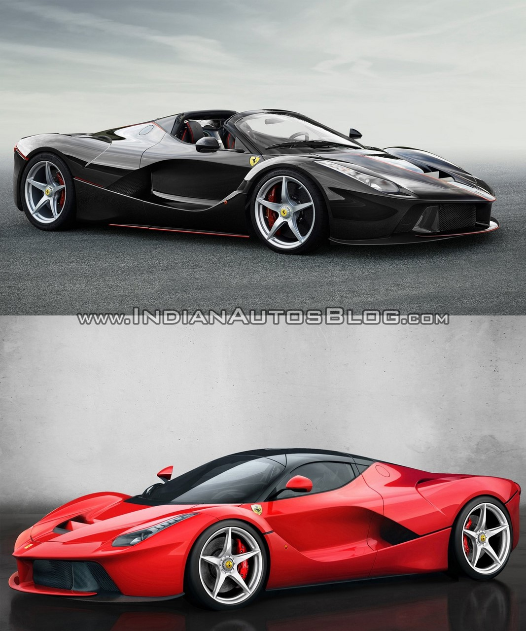 Ferrari LaFerrari Aperta (Spider) vs. Ferrari LaFerrari coupe exterior front three quarters