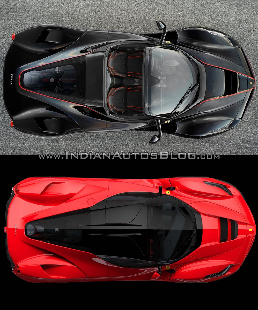 Ferrari LaFerrari Aperta (Spider) vs. Ferrari LaFerrari coupe top view