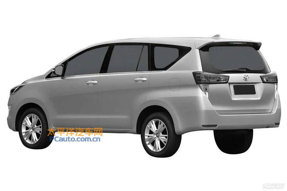 Toyota Innova Crysta rear three quarter patented in China