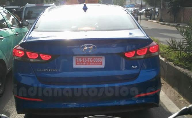 2016 Hyundai Elantra spied taillamp uncamouflaged in Chennai