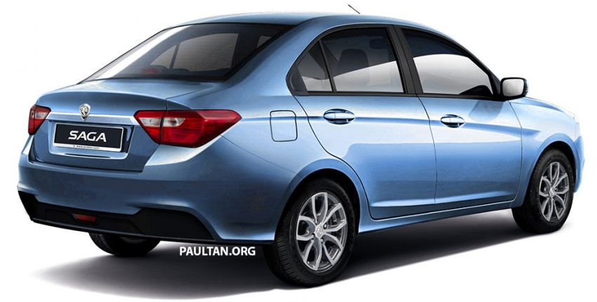 2016 Proton Saga rear three quarter Rendering