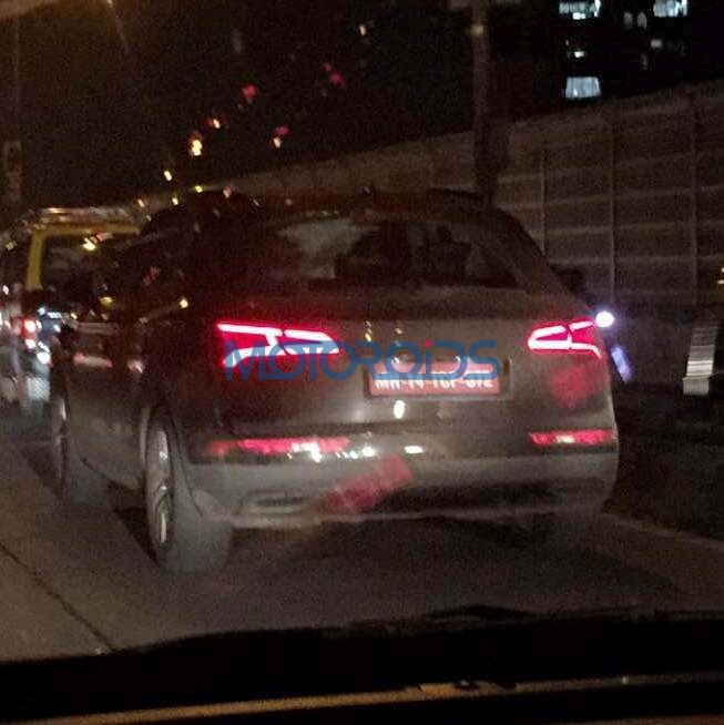 2017 Audi Q5 rear three quarters spy shot