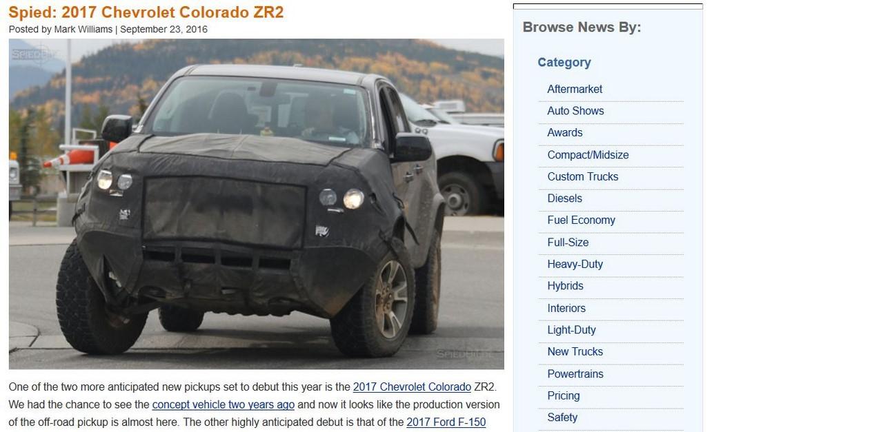 2017 Chevrolet Colorado ZR2 spy shot