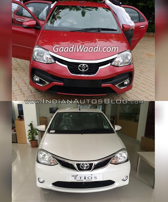 Toyota Etios facelift vs Old model front Old vs New
