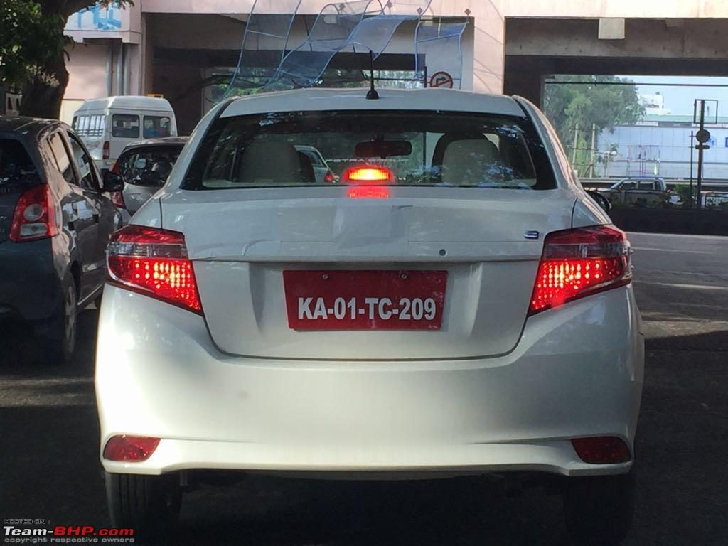 Toyota Vios rear spied testing in Bengaluru yet again