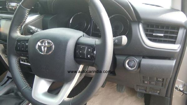 2016 Toyota Fortuner steering spied uncamouflaged India