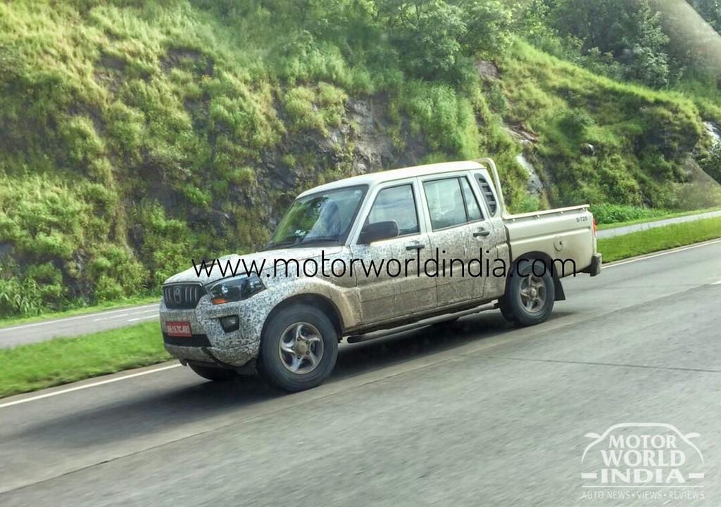 2017 Mahindra Scorpio Getaway (facelift) front three quarters spy shot