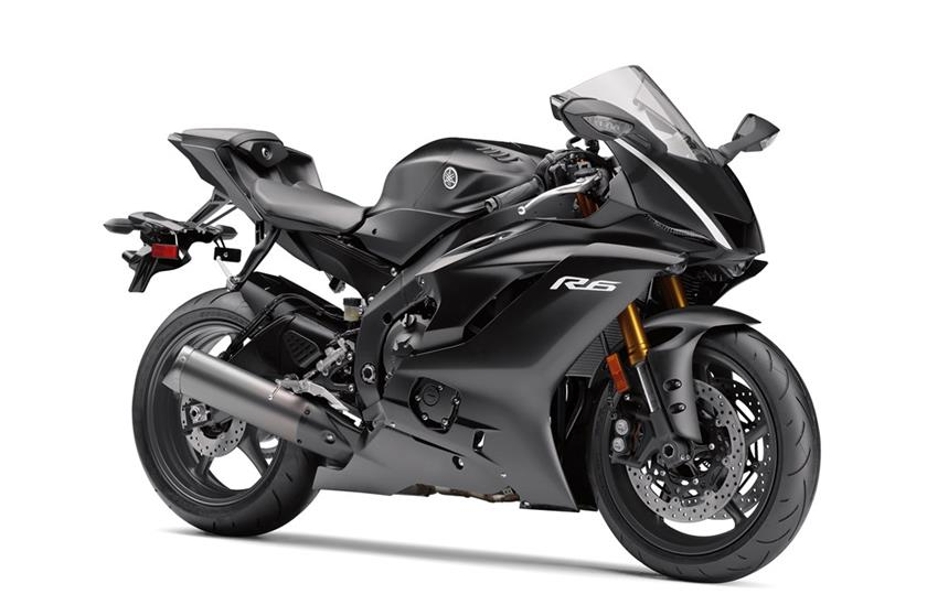 2017 yamaha yzf r6 matte black front three quarters right side. Black Bedroom Furniture Sets. Home Design Ideas