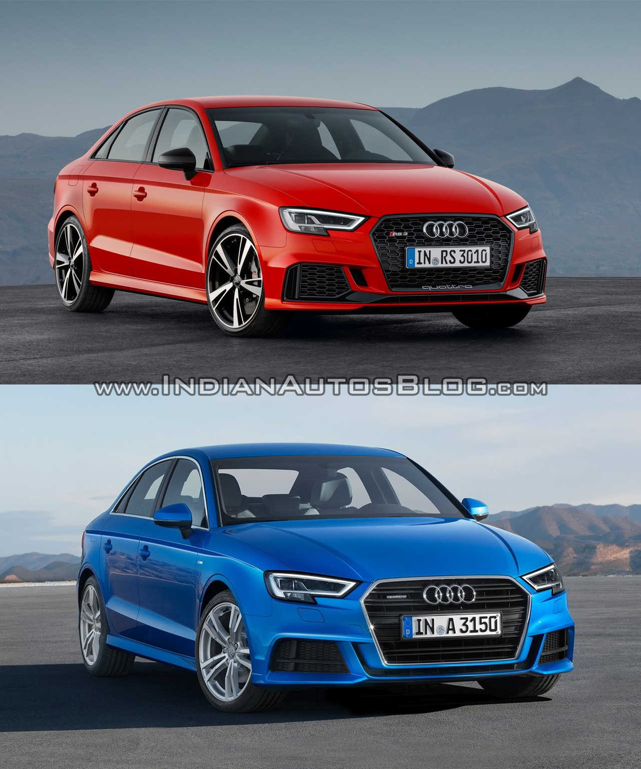 Audi RS3 sedan vs. Audi A3 sedan - In Images