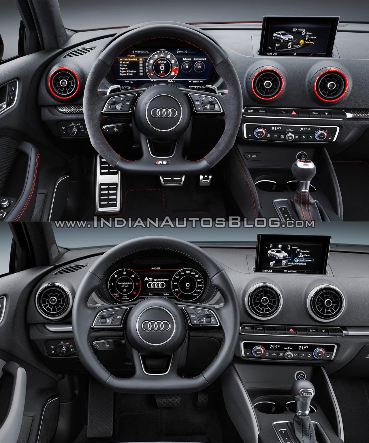 2018 Audi Rs 3 Interior: Audi RS 3 Sedan Vs. Audi A3 Sedan Interior