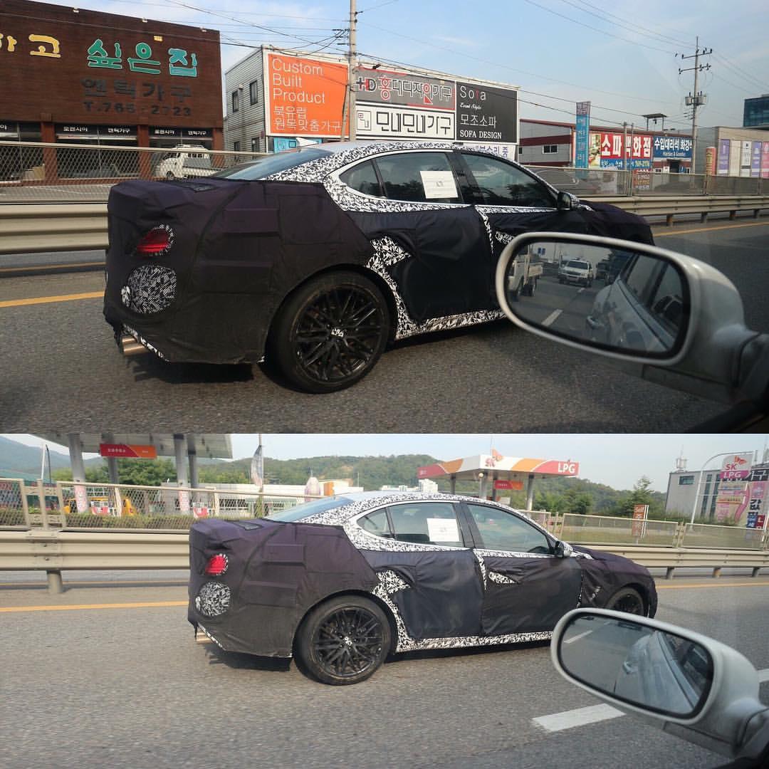 Genesis G70 rear three quarters spy shot