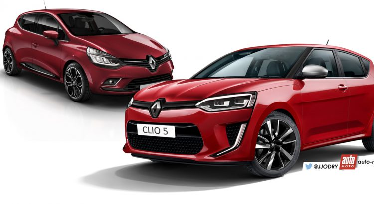 2016 Renault Clio vs. 2018 Renault Clio (rendering) front three quarters