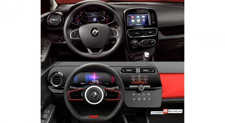2016 Renault Clio vs. 2018 Renault Clio (rendering) interior