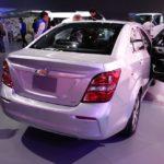 2017 Chevrolet Sonic Sedan rear three quarters at 2016 Bogota Auto Show