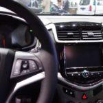 2017 Chevrolet Sonic interior centre console at 2016 Bogota Auto Show